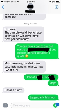 Accidentally sent my grandma a sex hotline phone number instead of my works call centre