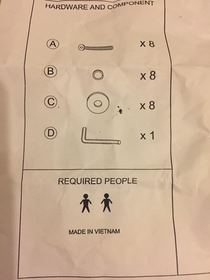 According to these instructions I need two Vietnamese people to help me assemble my dining room table