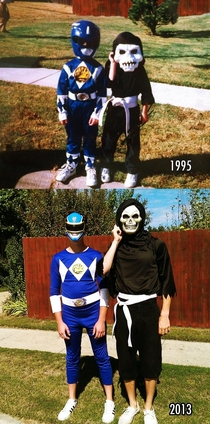 After all these years I thought it was overdue to recreate this photo Still best buds nearly eighteen Halloweens later