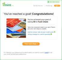 After years of debt I finally paid off my Chase credit card this week Id forgotten I had made this goal on Mint and received this in my e-mail yesterday