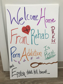 Airport sign I made for my non-addicted boyfriend