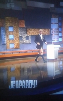 Alex Trebek walking out to his podium --