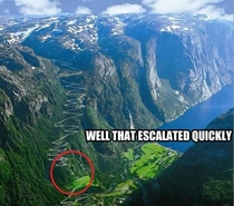 All I could think of when I saw the picture of Lysefjorden Norway