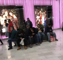 All the miserable men outside of Victorias Secret before the holidays