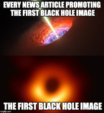 Almost every article promoting the news of the first image of a black hole