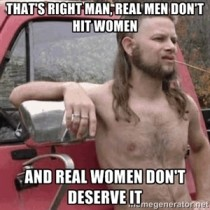 Almost politically correct redneck on domestic violence