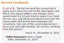 Amazon seller responds to negative feedback