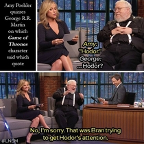 Amy Poehler quizzes George R R Martin about a quote from GoT