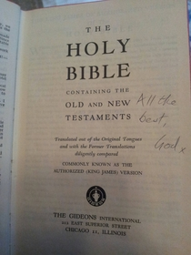 An autographed bible found in a hotel I visted