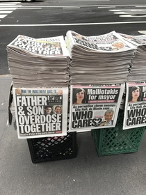 An awkward placement for these newspapers