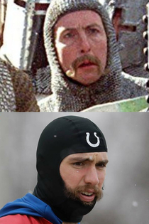 Andrew Luck looking like Sir Robin from Monty Python and the Holy Grail