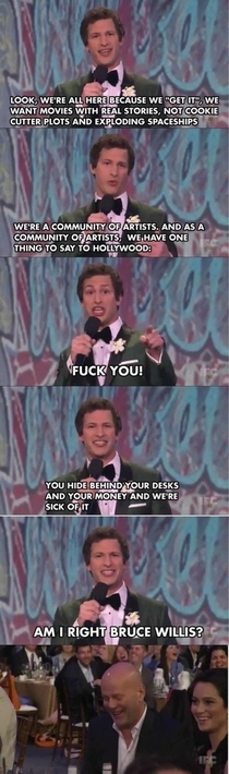 Andy Samberg sticks it to the man