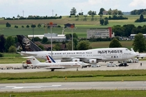 Angela Merkels Franois Hollandes and Iron Maidens planes today at Zurich Airport