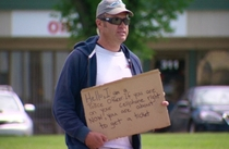Another Honest Beggar cardboard sign