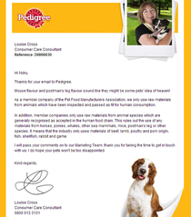 Apparently I drunk-emailed Pedigreeand they replied