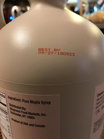 Apparently my maple syrup has a shelf life of  years