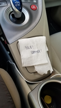 Apparently my wife trapped a bee in her cup holder