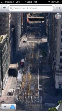 Apple maps makes New York look like there was a zombie infestation