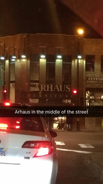 Arhaus in the middle of the street