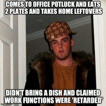 As a new employee who brought food and would have loved some leftovers I was pretty pissed at these guys