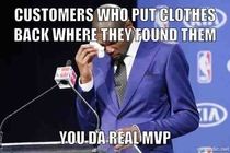 As a retail worker in a large clothing store