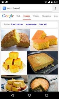 As an Australian I had no idea what cornbread is Im not sure if googles related is being racist