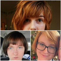 Asked for a bang trim and chocolate brown hair color Top image is the reference for the bangs Bottom right is what my hair looked like when I walked into the salon Bottom left is what I looked like when I left the salon