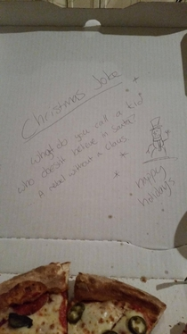 Asked for a Christmas joke Papa Johns delivered