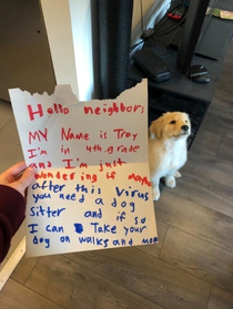 At first I thought the dog wrote the note and his name was Troy and he was a smug-looking new neighbor who was somehow in fourth grade too and who had just walked right into this persons house lol