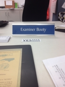 At the DMV Super frustrating until I saw my examiners name tag