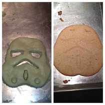 Attempted to make a Stormtrooper cookie Turned into Jabba the Hut