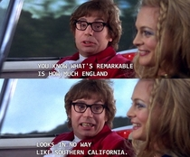 Austin Powers subtly breaking the fourth wall
