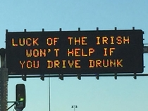AZ Dept of Transportation is at it again for St Paddys Day