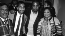 Aziz Ansari with his parents And Kanye