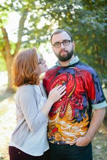Babe let me wear my favorite shirt for our engagement photos