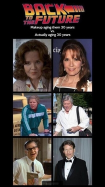 Back to the Future actors  years ago with aging makeup and now  years later