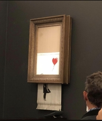 Banksy remote-shredded one of his own paintings after it sold for a million pounds and the auction house is apparently not sure if they should issue a refund bc the shreds might be worth more after such an epic prank