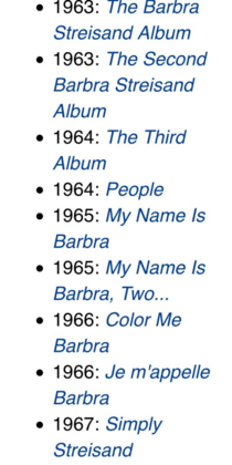 Barbra Streisand is so creative with naming her albums