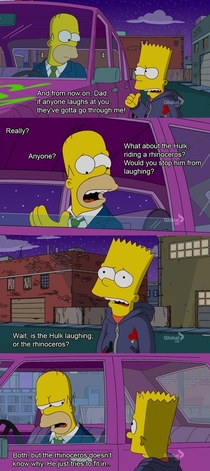 Bart telling Homer hed stand up for him