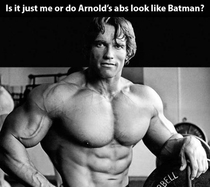Batman spotted in the abs of Arnold