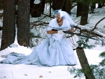 Best use for ex-wifes wedding dress snow camo