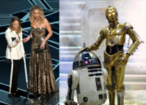 Between the crutches and the color scheme these Oscars presenters looked familiar