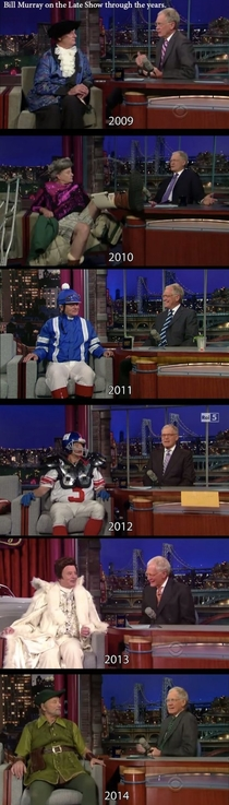 Bill Murray over the years appearing as a guest on Letterman
