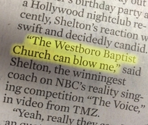 Blake Shelton gives his opinion on the Westboro Baptist Church
