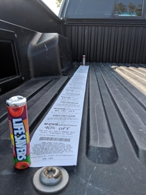 Bought  Lifesavers at CVS and the receipt was almost as long as my truck bed