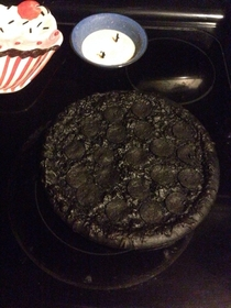 Boyfriend put a pizza in the oven and fell asleep this was the result