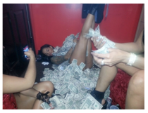 Brazilian prostitute Gaby Del Campo tweeted this picture saying My client Justin Bieber knows how to make it rain