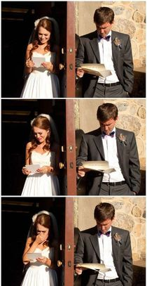 Bride and Groom Reading Each Others Wedding Vows