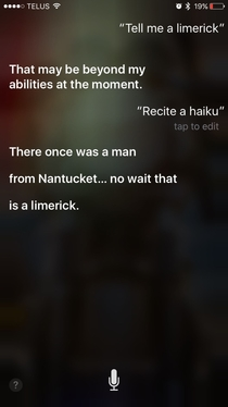 Bullshit Siri knows exactly what a limerick is