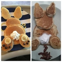 Bunny pancakes for the wifes birthdayNailed it